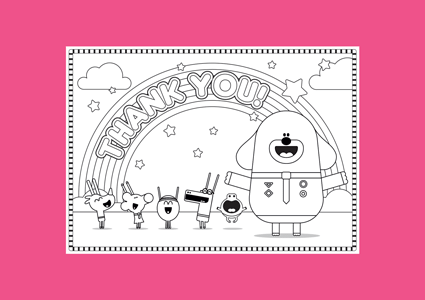 Hey Duggee Rainbow colouring in page