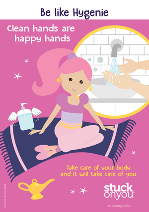Clean hands are happy hands kids printable poster